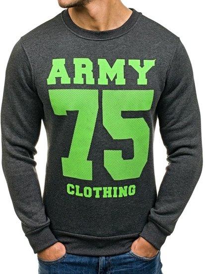 Bolf Herren Sweatshirt ohne Kapuze mit Motiv Anthrazit 0593