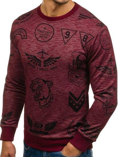 Bolf Herren Sweatshirt ohne Kapuze mit Motiv Weinrot  1717