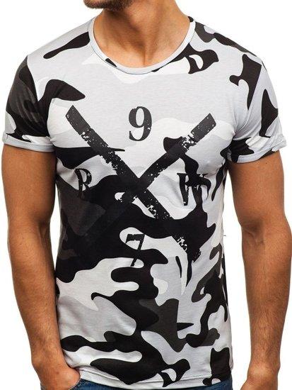 Bolf Herren T-Shirt mit Motiv Camo-Grau  1065