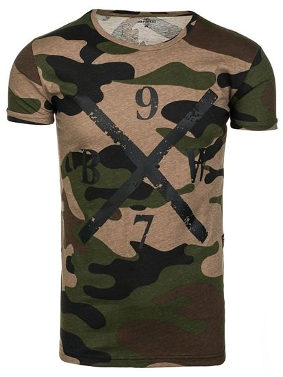 Bolf Herren T-Shirt mit Motiv Camo-Grün  1065