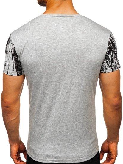Bolf Herren T-Shirt mit Motiv Grau  SS671