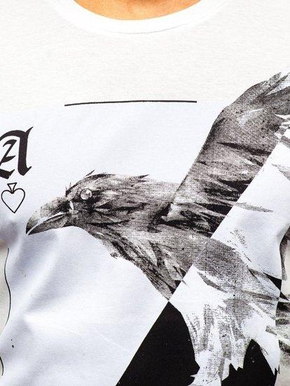 Bolf Herren T-Shirt mit Motiv Weiß  181210