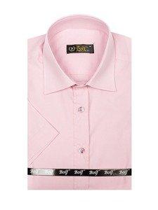 Bolf Herren Hemd Elegant Kurzarm Rosa  7501