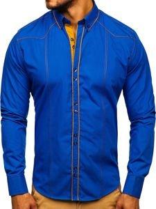 Bolf Herren Hemd Elegant Langarm Mittelblau  4777