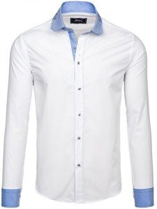 Bolf Herren Hemd Langarm Elegant Weiß 6962
