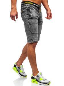 Bolf Herren Kurze Jeanshose Schwarz  HY768