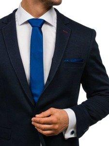 Bolf Herren Set Krawatte, Manschettenknöpfe, Einstecktuch Dunkelblau  KSP01