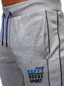 Bolf Herren Sporthose mit Motiv Grau  AM86