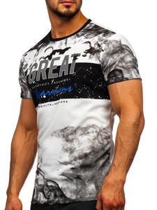 Bolf Herren T-Shirt mit Motiv Weiß  SS11000