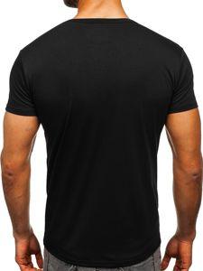 Bolf Herren T-Shirt mit V-Ausschnitt Schwarz  2007